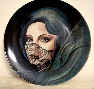 Glass Art - Blue Lady With Veil by Patricia Rachidi