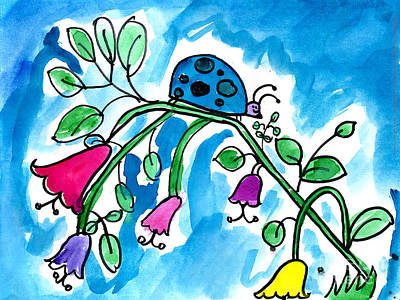 Painting - Blue Ladybug by Jackie Wicks Age Eleven