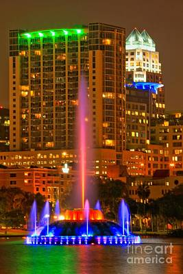Photograph - Blue Lake Eola Fountain by Adam Jewell