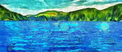 Cloudy Day Mixed Media - Blue Lake Green Land by Dan Sproul