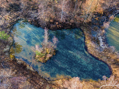 Photograph - Blue Lake In Enchanted Forest Aerial Image by Matthias Hauser
