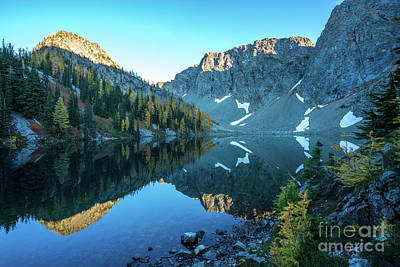 Photograph - Blue Lake Larches by Mike Reid