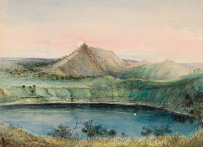 Drawing - Blue Lake. Mount Gambier by George French Angas