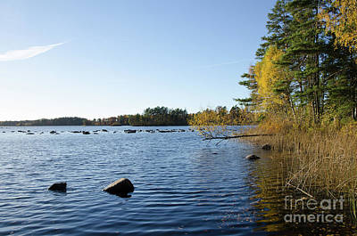 Photograph - Blue Lake With Fall Colors by Kennerth and Birgitta Kullman