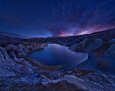 Stars Photograph - Blue Lake by Yan Zhang