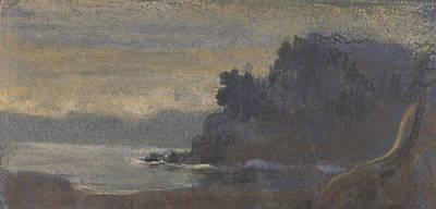 Pastel - Blue Landscape by Arthur Bowen Davies