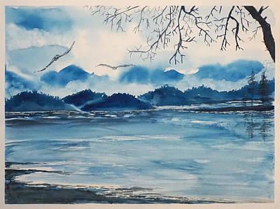 Blue  Landscape Art Print by Yuliya Schuster