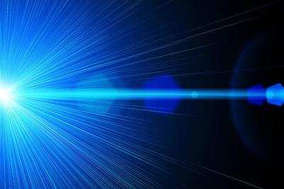 Digital Esoteric Digital Art - Blue Laser Ray by Juergen Faelchle