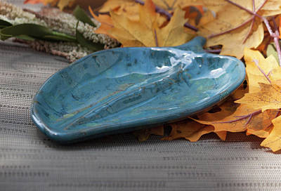 Ceramic Art - Blue Leaf Dish by Suzanne Gaff