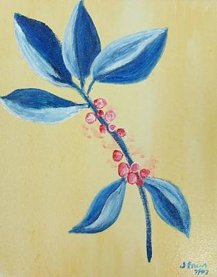 Painting - Blue Leaves And Berries by Jamie Frier