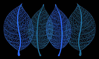 Black Background Painting - Blue Leaves by Frank Tschakert