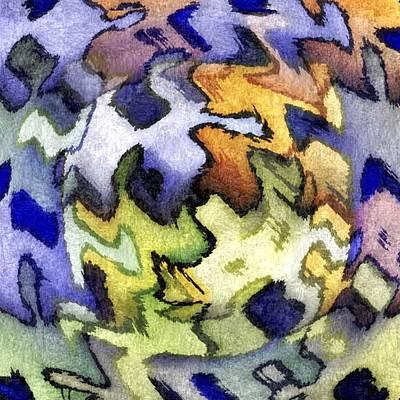 Blue Leopard Skin Art Print by Terry Mulligan