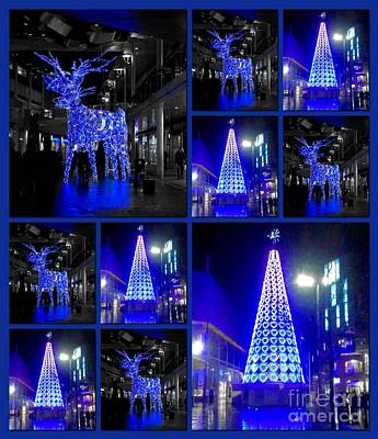 Photograph - Blue Lights Collage by Joan-Violet Stretch