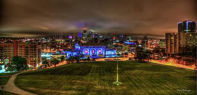 Photograph - Blue Lights On Kansas City Union Station Kansas City Missouri Art by Reid Callaway