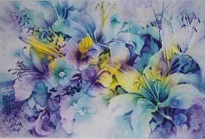 Blue-lilies Art Print by Nancy Newman