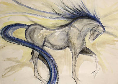 Sporthorse Mixed Media - Blue Lines by Jennifer Fosgate