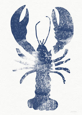 Blue Lobster- Art By Linda Woods Print by Linda Woods