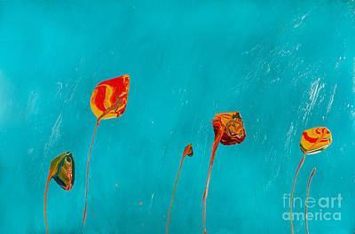 Painting - Blue Lollipop Flowers by Laura Warburton