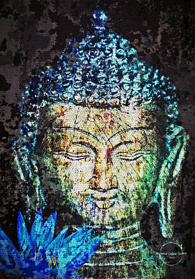 Digital Art - Blue Lotus Buddha by Absinthe Art By Michelle LeAnn Scott
