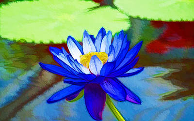 Buddhist Painting - Blue Lotus Flower by Lanjee Chee