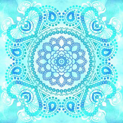 Blue Lotus Mandala Art Print by Tammy Wetzel