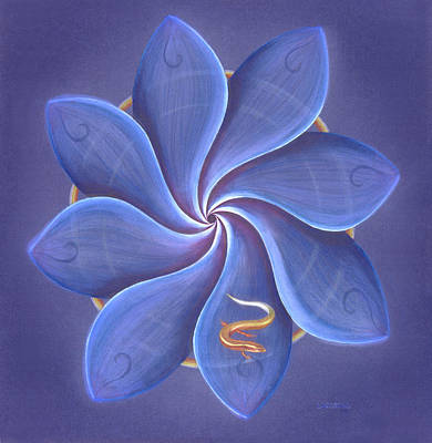 Salamanders Painting - Blue Lotus  by Robin Aisha Landsong