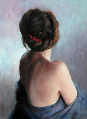 Figures Painting - Blue Maiden by Anna Rose Bain