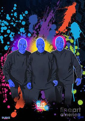 Blue Man Group's 25th Anniversary Art Print by Joseph Burke