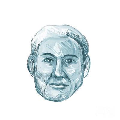 Convict Digital Art - Blue Man Identikit Drawing by Aloysius Patrimonio