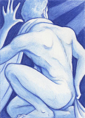 Blue Man Study Art Print by Amy S Turner