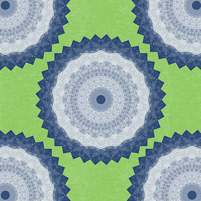 Blue Mandala- Art By Linda Woods Art Print