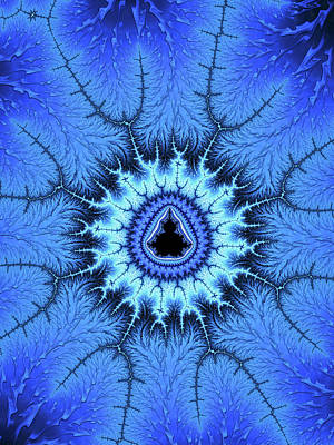 Digital Art - Blue Mandelbrot Fractal Relaxing And Balanced by Matthias Hauser