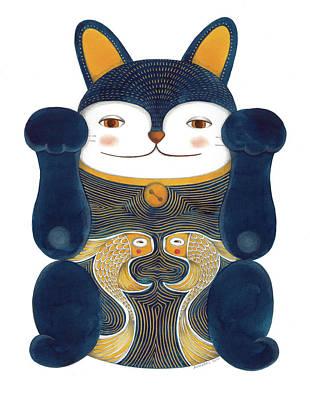 Wall Art - Drawing - Blue Maneki-neko by Helena Melo