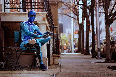 Photograph - Blue Mannequin Street Scene by Joseph Skompski