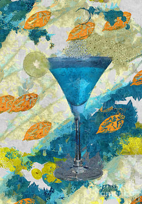 Digital Art - Blue Margarita Abstract by Nola Lee Kelsey