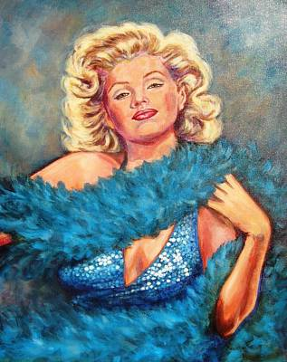 Blue Marilyn Art Print by Beverly Sneath