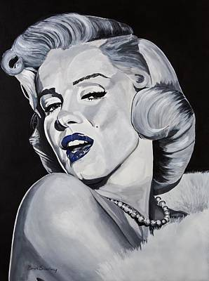 Blue Marilyn  Art Print by Brian Broadway