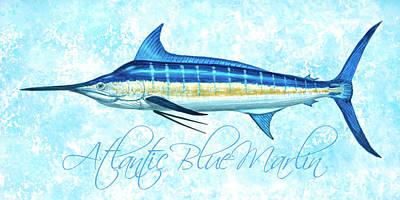 Wall Art - Painting - Blue Marlin - Blue Sponge by Guy Crittenden