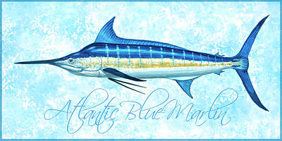 Wall Art - Painting - Blue Marlin - Blue Sponge With Border by Guy Crittenden