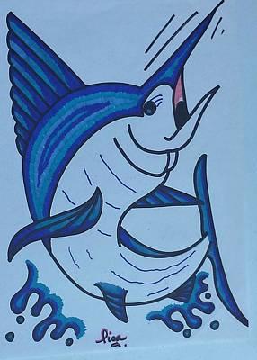 Blue Marlin Drawing - Blue Marlin by Lisa Nalley