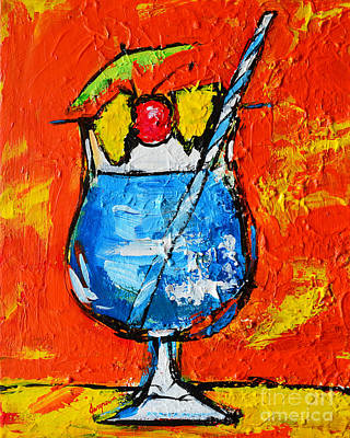 Martini Painting Rights Managed Images - Blue Martini - Hawaiian Style - Tropical Drink Royalty-Free Image by Patricia Awapara