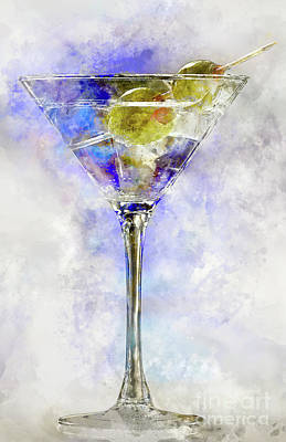 Outer Space Abstract Painting -  Blue Martini by Jon Neidert