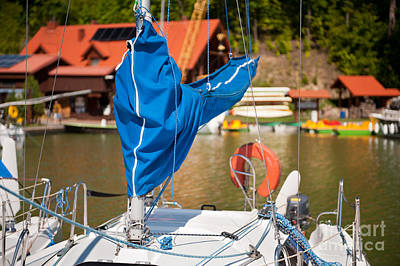 Sail Cloth Photograph - Blue Mast Covering Sheath Foreground by Arletta Cwalina