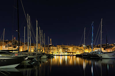 Photograph - Blue Mast - Senglea Malta Magical Night by Georgia Mizuleva