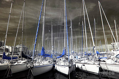 Blue Masts Of Marseille Art Print