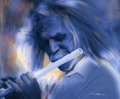 Male Portraits Digital Art - Blue Melody by Bob Salo