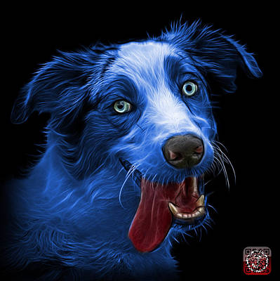 Painting - Blue Merle Australian Shepherd - 2136 - Bb by James Ahn