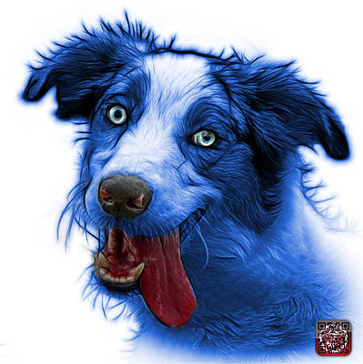 Painting - Blue Merle Australian Shepherd - 2136 - Wb by James Ahn
