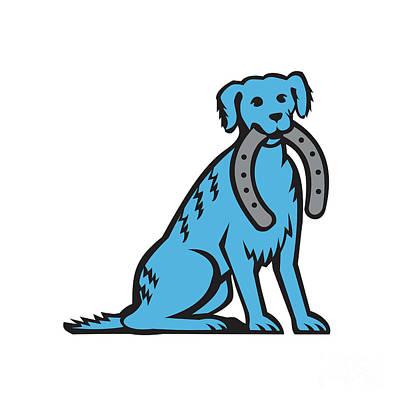 Canine Digital Art - Blue Merle Dog Sitting Biting Horseshoe Retro by Aloysius Patrimonio