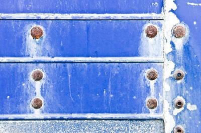 Blue Metal Background  Art Print by Tom Gowanlock